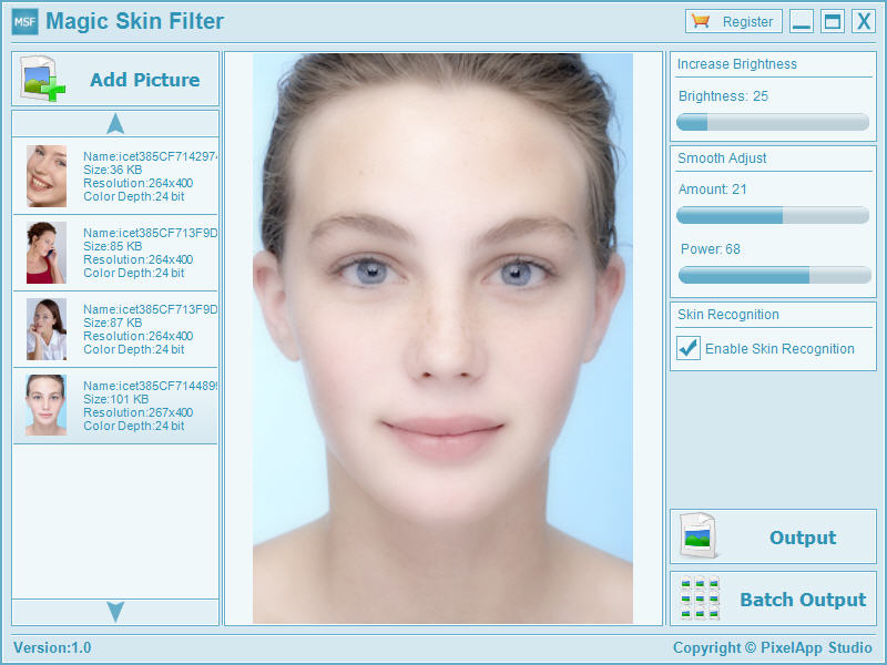 Click to view Magic Skin Filter 1.1 screenshot